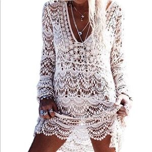 Other - Crochet white beach cover up , cardigan